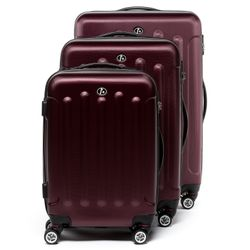 FERGÉ luggage set 3 piece LYON  hard shell trolley 3 sizes red ABS suitcase set 4 twin spinner wheels