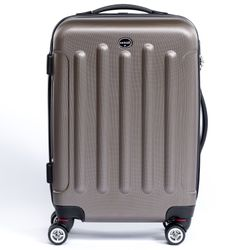 FERGÉ carry-on trolley LYON -XB-02-20- suitcase hard-top case ABS - coffee