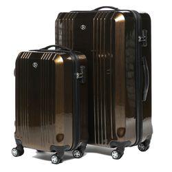 FERGÉ 2er Kofferset Handgepäck + XL CANNES ABS & PC bronze-metallic Trolley-Hartschalenkoffer Set 4 Rollen Kofferset 2-teilig Hartschale 55 cm 5
