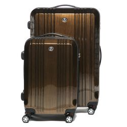 FERGÉ 2er Kofferset CANNES - Handgepäck & Koffer XL carry-on+28l ABS & PC braun 2 Trolley-Hartschalenkoffer 4 Zwillingsrollen (360°)