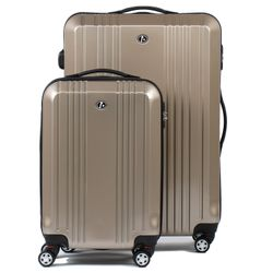 FERGÉ 2er Kofferset CANNES - Handgepäck & Koffer XL carry-on+28l ABS & PC beige 2 Trolley-Hartschalenkoffer 4 Zwillingsrollen (360°)