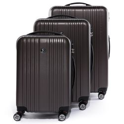 FERGÉ luggage set 3 piece TOULOUSE  hard shell trolley 3 sizes brown ABS suitcase set 4 twin spinner wheels