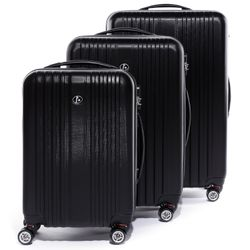 FERGÉ luggage set 3 piece TOULOUSE  hard shell trolley 3 sizes black ABS suitcase set 4 twin spinner wheels
