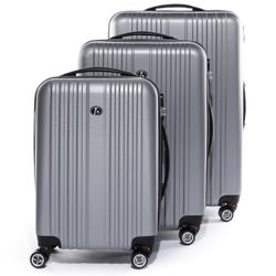 FERGÉ Kofferset 3-teilig Hartschale silber 3er Hartschalenkoffer Trolley-Set 4 Zwillings-Rollen 360° Kofferset 3-teilig Hartschale