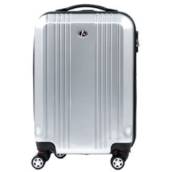FERGÉ carry-on trolley CANNES -xb-03-20- suitcase hard-top case ABS&PC - silver-shiny