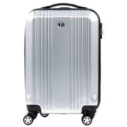 FERGÉ Handgepäck-Koffer CANNES ABS & PC silber glänzend Reisekoffer Kabinen-Trolley 4 Rollen Handgepäck-Koffer Hartschale