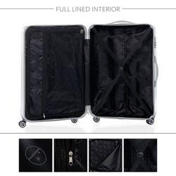 FERGÉ Handgepäck 55 cm Hartschale silber glänzend Reisekoffer Kabinentrolley 4 Zwillingsrollen 360° Handgepäck-Koffer Hartschale 6