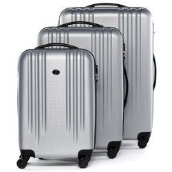 FERGÉ trolley set Marseille -XB-06-3- 3 suitcases hard-top cases ABS - silver
