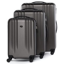 FERGÉ luggage set 3 piece Marseille  hard shell trolley 3 sizes grey ABS suitcase set 4 spinner wheels