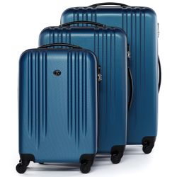 FERGÉ trolley set Marseille -XB-06-3- 3 suitcases hard-top cases ABS - royal-blue