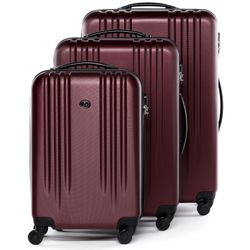 FERGÉ luggage set 3 piece Marseille  hard shell trolley 3 sizes red ABS suitcase set 4 spinner wheels