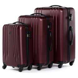 FERGÉ Kofferset 3-teilig Hartschale Burgundrot 3er Hartschalenkoffer Trolley-Set 4 Rollen 360° Kofferset 3-teilig Hartschale 2