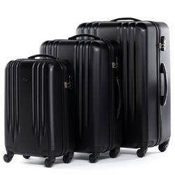 FERGÉ 3er Kofferset Marseille ABS Dure-Flex schwarz 3er Hartschalenkoffer Roll-Koffer 4 Rollen Kofferset Hartschale 3-teilig 2