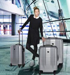 FERGÉ 3er Kofferset Marseille ABS Dure-Flex schwarz 3er Hartschalenkoffer Roll-Koffer 4 Rollen Kofferset Hartschale 3-teilig 7