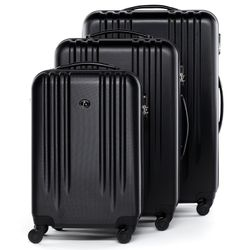 FERGÉ luggage set 3 piece Marseille  hard shell trolley 3 sizes black ABS suitcase set 4 spinner wheels