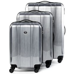 FERGÉ trolley set Dijon -XB-04-3- 3 suitcases hard-top cases ABS&PC - aluminium-look