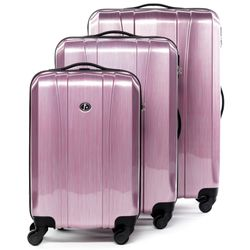 FERGÉ trolley set Dijon -XB-04-3- 3 suitcases hard-top cases ABS&PC - pink-aluminium-wire