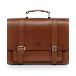 SID & VAIN briefcase BRISTOL -900.11- business bag SADDLE leather - tan-cognac