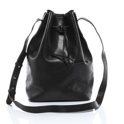 SID & VAIN Beuteltasche PATTY Premium Smooth schwarz Hobo Bag Schnürbeutel