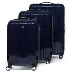 FERGÉ 3 suitcases hard-top cases CANNES -XB-03- trolley set ABS&PC - dark-blue-wire