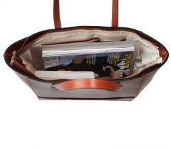 top-handle tote bag TRISH Saddle Leather 4