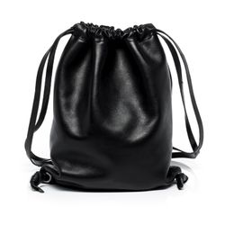 "FEYNSINN leather & canvas drawstring bag NiK  bucket bag ""gym style"" S black Smooth Leather draw-string backpack"
