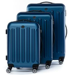 FERGÉ luggage set 3 piece LYON  hard shell trolley 3 sizes blue ABS suitcase set 4 twin spinner wheels