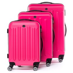 FERGÉ 3 suitcases hard-top cases LYON -XB-02 – matt- trolley set ABS - neon-pink