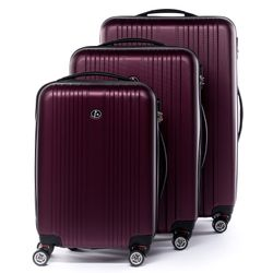 FERGÉ luggage set 3 piece TOULOUSE  hard shell trolley 3 sizes red ABS suitcase set 4 twin spinner wheels