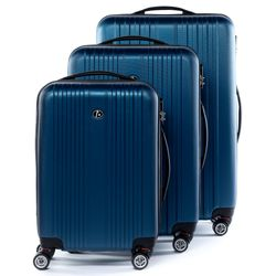 FERGÉ 3 suitcases hard-top cases TOULOUSE -XB-07- trolley set ABS - royal-blue