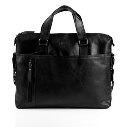 BACCINI laptop bag LEANDRO -519- business bag SMOOTH leather - black