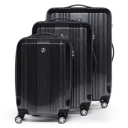 FERGÉ 3 suitcases hard-top cases CANNES -XB-03- trolley set ABS&PC - graphite-wire