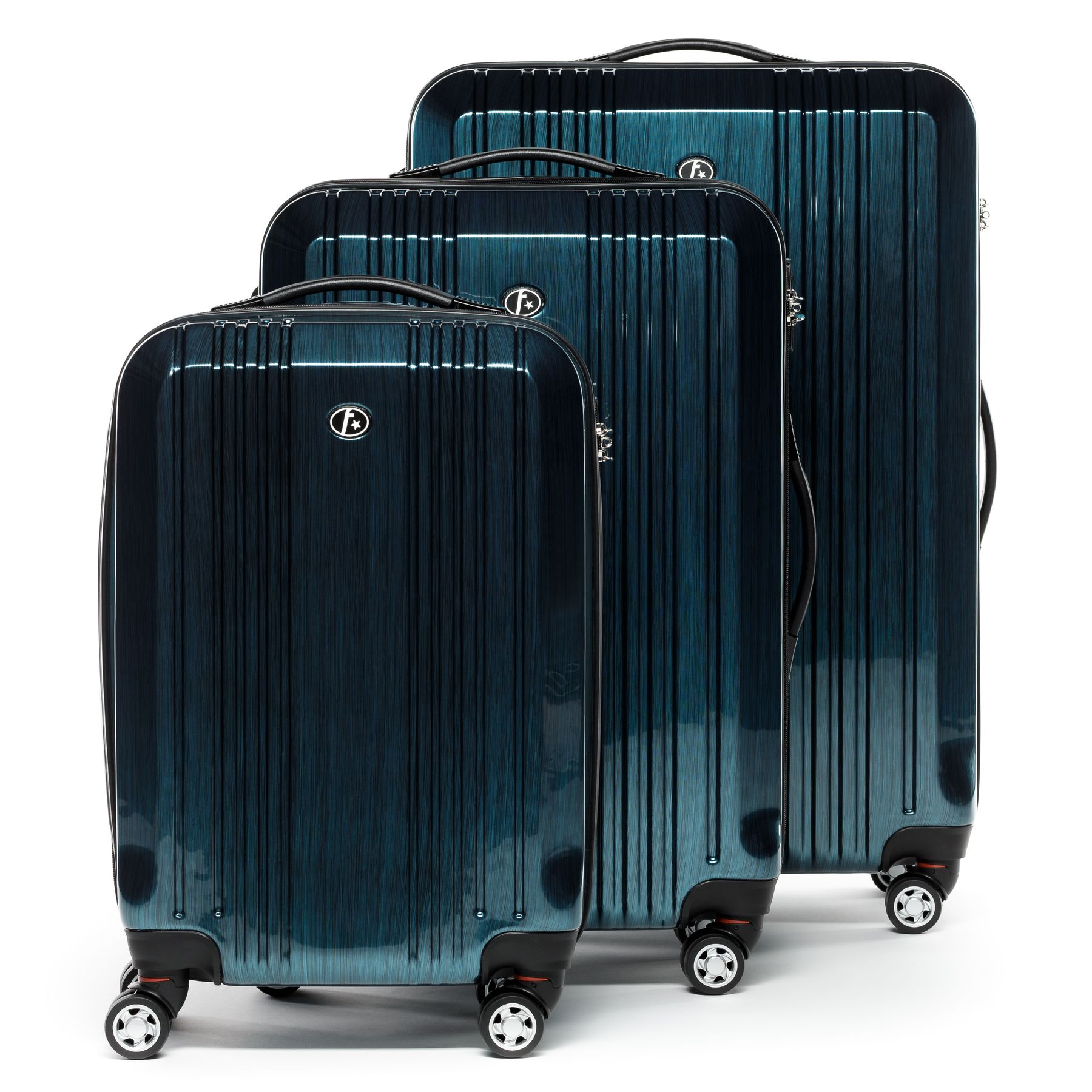 1e1b239cc FERGÉ luggage set 3 piece Polycarbonate CANNES petrol hard shell travel  trolley suitcase set 4 twin spinner wheels Luggage
