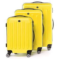 FERGÉ 3 suitcases hard-top cases LYON -XB-02 – matt- trolley set ABS - yellow