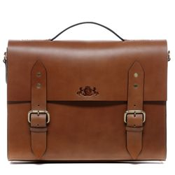 SID & VAIN briefcase BOSTON -1242- business bag SADDLE leather - tan-cognac