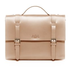 SID & VAIN Aktentasche Boston Ledertasche Businesstasche - Leder Laptoptasche, Medium, beige