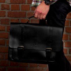 SID & VAIN Aktentasche BRISTOL Sattelleder schwarz Businesstasche Aktentasche 4