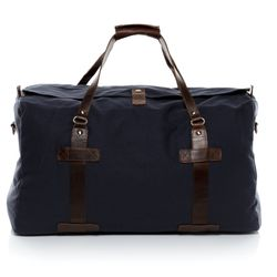 SID & VAIN travel bag CHASE -1551- weekender CANVAS-PULL-UP leather - blue-brown
