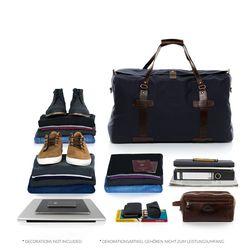 SID & VAIN XL Reisetasche CHASE Canvas & Leder blau-braun Sporttasche groß Reisetasche 4