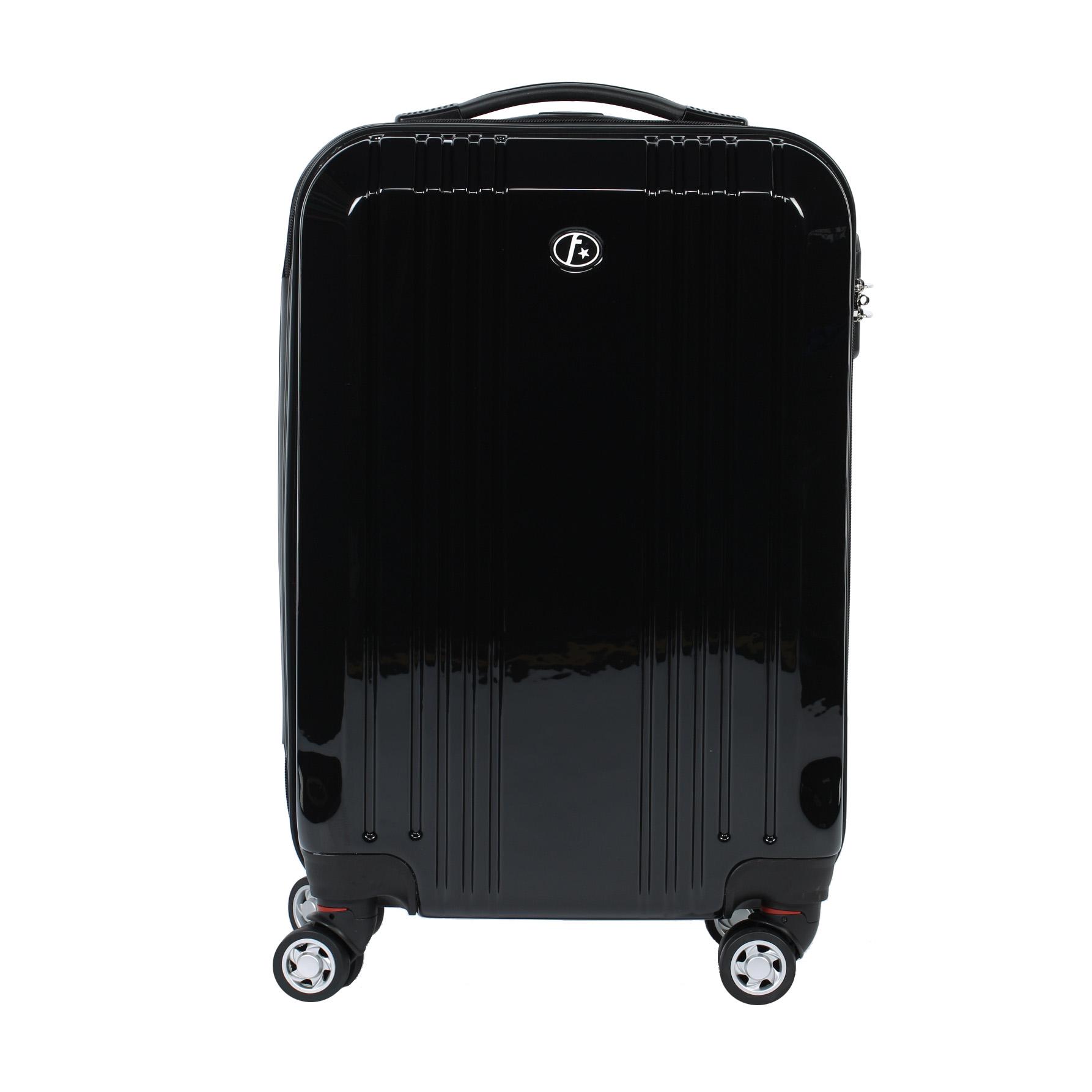 handgep ck koffer reisekoffer bordgep ck trolley hartschale 4 rollen schwarz ebay. Black Bedroom Furniture Sets. Home Design Ideas