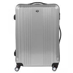 FERGÉ large trolley CANNES -xb-03-28- suitcase hard-top case ABS&PC - silver-shiny