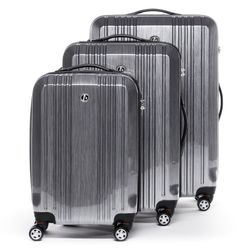 FERGÉ luggage set 3 piece CANNES  hard shell trolley 3 sizes silver Polycarbonate suitcase set 4 twin spinner wheels
