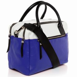 BACCINI tote bag & cross-body bag GINA -K-7219- handbag VT-Milled leather - black-white-indigo