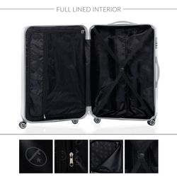 FERGÉ Kofferset 3-teilig CANNES Trolley-Koffer Hartschale leicht 3 Größen ABS & PC Koffer-Set Leicht 3er Hartschalenkoffer Set (M L XL ) 4 Zwillingsrollen (360°) 6