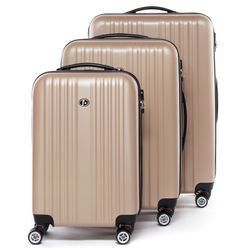 FERGÉ luggage set 3 piece TOULOUSE  hard shell trolley 3 sizes beige ABS suitcase set 4 twin spinner wheels