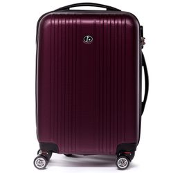 FERGÉ carry-on trolley TOULOUSE -XB-07-20- suitcase hard-top case ABS - burgundy