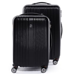 FERGÉ two luggage set TOULOUSE -XB-07-20-24- 2 suitcase hard-top cases ABS - black