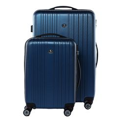 FERGÉ 2er Kofferset TOULOUSE - Handgepäck & Koffer XL carry-on+28l ABS blau 2 Trolley-Hartschalenkoffer 4 Zwillingsrollen (360°)