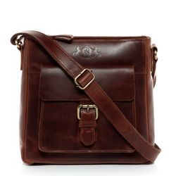 SID & VAIN shoulder bag YALE -1703- handbag PULL-UP leather - brown-cognac