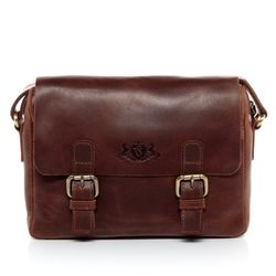 SID & VAIN messenger bag YALE  business office work school bag  M brown Natural Leather courier shoulder cross-body bag